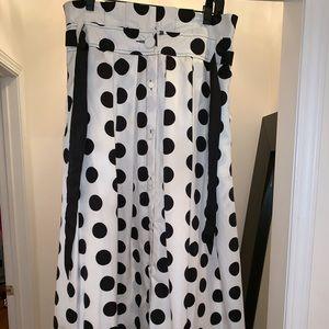 Black and white polka dot full length skirt